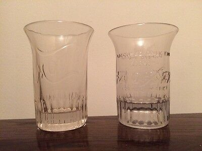 Set of Two Different Vintage Embossed Moxie Soda Fountain Glass
