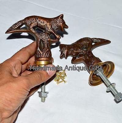 Antique Pair Brass Fox Hand Door Handle Art Fox Knob Hand Handle Decor @#