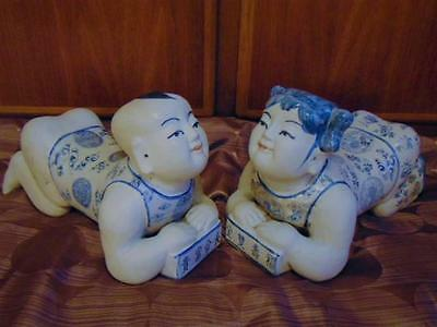 Antique Chinese Pottery Porcelain Baby Boy Girl Opium Pillow Figures Statues Set