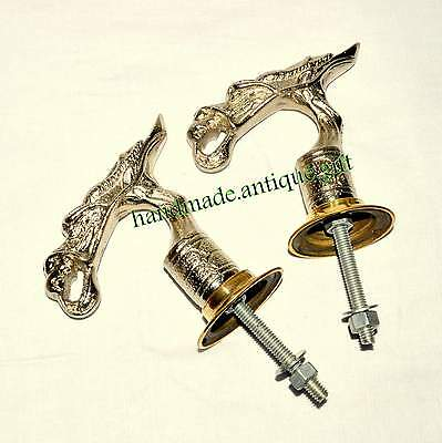Unusual Cast Metal Door Handles Pulls Oriental Dragon Bird Vintage Pair Old @#