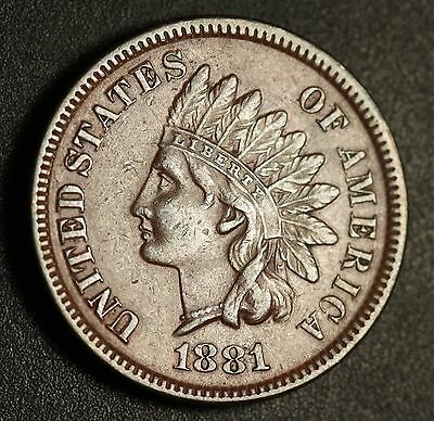 1881 INDIAN HEAD CENT - With LIBERTY & DIAMONDS - XF EF