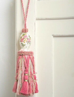 French Provincial Shabby Hand Painted Pink Rose's Curtain Door Decorator Tassel
