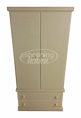 Handmade Sarah 2 Door Gents Wardrobe With 2 Drawers In Ivory / Cream Assembled