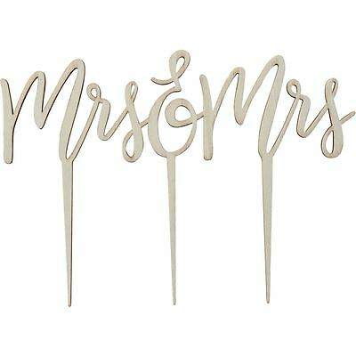 Ginger Ray Mrs and Mrs Wooden Cake Topper Cake Decorations Wedding Supplies