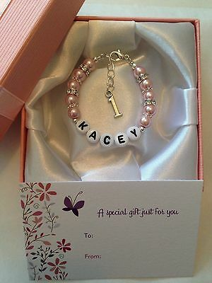 Girls Personalised Name Bracelet 1st Birthday gift box First Birthday Present