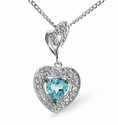 Heart Pendant Blue Topaz and Diamond White Gold Necklace Appraisal Certificate