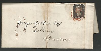 23Rd May 1840 Penny  Black (Hd) Plate 2 On Entire Letter Sent From Stranraer