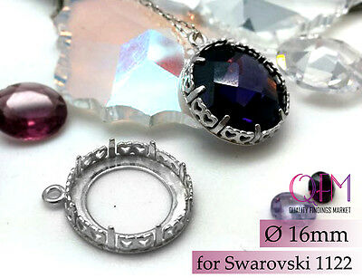 3pcs Bezel Cup 16mm Sterling Silver 925 Finishes: Antique Silver & Shiny Silver