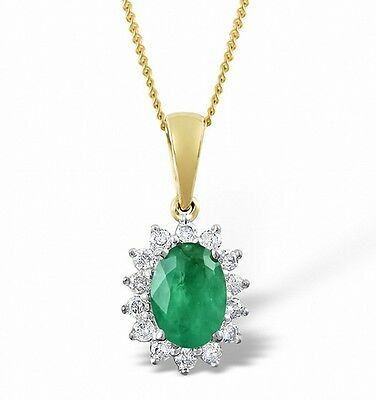 Emerald and Diamond Pendant Yellow Gold Necklace Cluster Appraisal Certificate