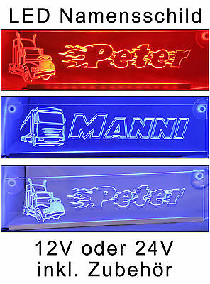 Trucker LKW Namensschild -LED- beleuchtet 12/24V - DAF SCANIA MAN RENAULT IVECO