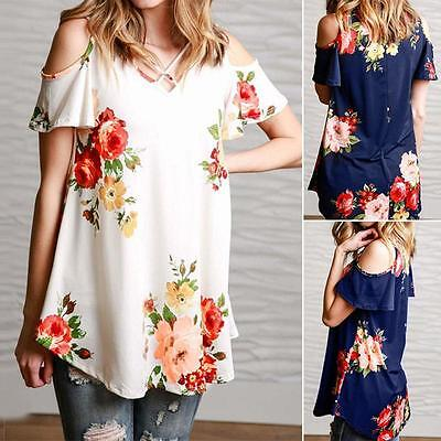 Women Fashion Summer Loose Casual Cotten Short SleeveOff-Shoulder   Tops Blouse