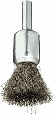 Weiler Wire End Brush, Solid End, Round Shank, Stainless Steel 302, Crimped