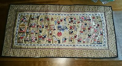 chinese silk embroidery panel lots of detail