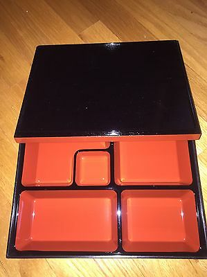 Japanese Business Black And Red Lacquer Bento Box