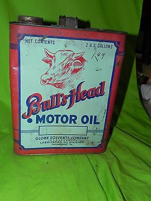 Antique Bull's Bulls Head Advertising Two Gallon Service Station Motor Oil Can
