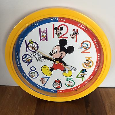 Disney Mickey Mouse Quartz Learn To Tell Time Children's Bedroom 10 Inches Clock