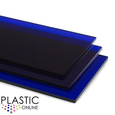 Dark Blue Transparent Colour Perspex Acrylic Sheet Plastic Panel Cut to Size