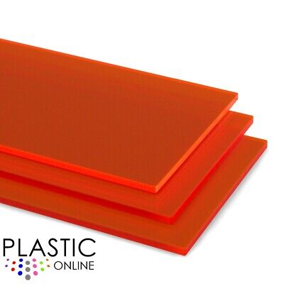 Lava Orange Fluorescent Perspex Acrylic Sheet Colour Plastic Panel Cut to Size