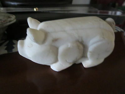 Small Antique Hand Carved Stone black vein Marble Pig