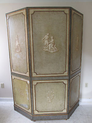 Vintage 1930s French Three Panel Hand Painted Leather Room Divider/Screen