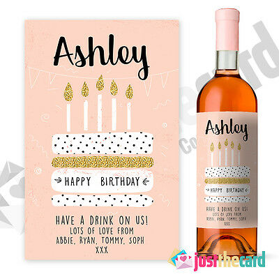 Personalised Peach Happy Birthday Wine Label Gift