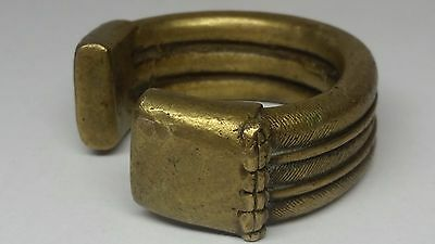 Antique Middle Eastern / African Tribal HEAVY Handmade Brass Cuff Bracelet