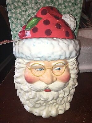 "SANTA CLAUS Head Mary Engelbreit COOKIE JAR Jolly SAINT Nick 2004 Enesco 11"" NIB"