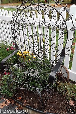 Magnificent Vintage Victorian Wrought Iron Peacock Patio Garden Chair 1950's