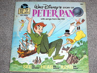 """Disneyland Story of Peter Pan 33-1/3rpm 7"""" Record and Story Book Collectible"""