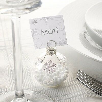 Xmas Bauble Place Card Holders &/or place cards, Winter Wedding Silver Snowflake