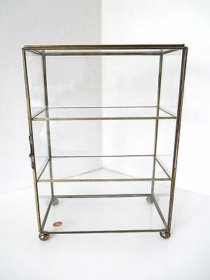 "Vintage GLASS BRASS Table Shelf CURIO DISPLAY CABINET ~ 10 1/2"" High"