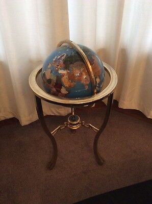 Gemstone Lapis Semi Precious Stone Brass Floor Standing World Globe