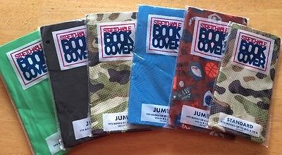 Lot Of 6 New Stretchable Fabric Book Binder Textbook Protective Covers