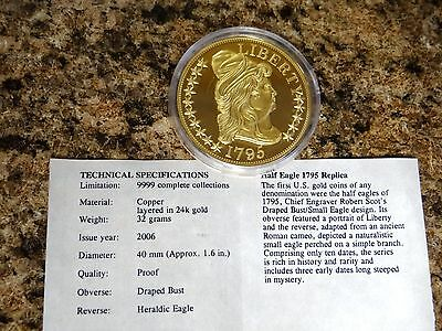 American Mint 1795 Half Eagle 24k Gold Plated  LIMITED EDITION