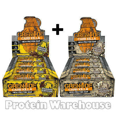 12 x 60g = 24 Grenade Carb Killa Bar Protein Bars 2 Boxes