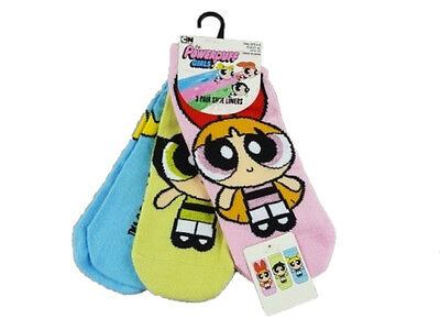 Ladies Socks Powerpuff Girls  Size 4-8 Eur. 37 -42  3 - Pack Shoe Liners
