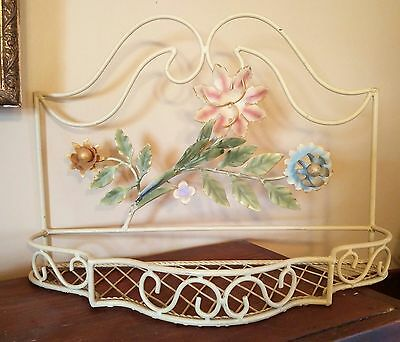 CHIC Vintage ITALIAN TOLE Floral Basket WALL SHELf Regency Shabby Painted 1960's