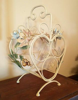 Vtg Painted Italian Tole 3 Bottle Wine Rack Chic w/Gold Floral Shabby Metal '60s