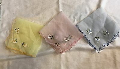 Lot of 3: Sheer vintage handkerchief PINK, BLUE, YELLOW with flower detail 10in