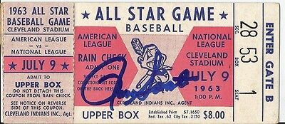 Ron Santo signed autographed July 9, 1963 All-Star Game ticket stub