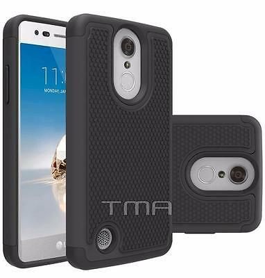 Fits LG K4 2017 Case Shockproof Rugged Heavy Duty Impact Hybrid Cover - Black