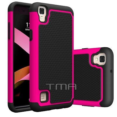LG X Power Rugged Rubber Dual Layer Impact Hybrid Hard Case Cover - Hot Pink