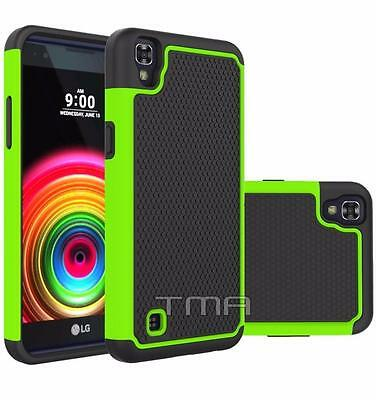 Fits LG X Power Case Rugged Rubber Shockproof Impact Hybrid Hard Cover - Green