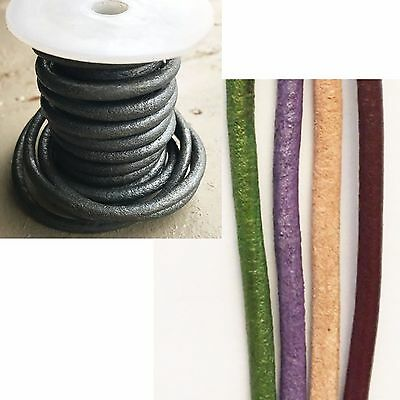 5mm Round Greek Leather Cord x 1m (5 colours available)