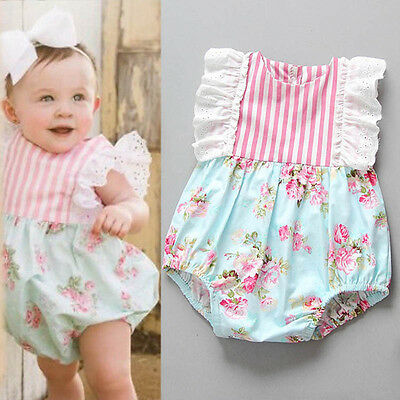 Newborn Infants Baby Girl Floral Stripe Romper Jumpsuit Sunsuit Bodysuit Outfits