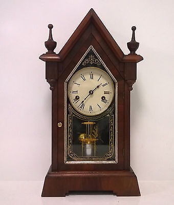 Restored 1886 Jerome & Co Dolphin Cottage Clock 30-Hour Time & Strike Steeple