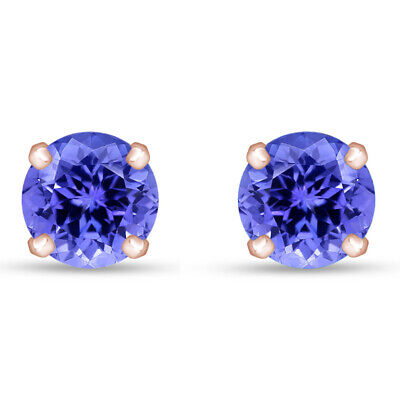 1.00ct Tanzanite Round Cut 14K White Gold Over Stud Earrings