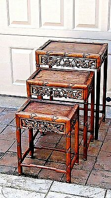 Antique Set Of 3 Chinese Rosewood Bamboo Design W/dragon & Bat Nesting Tables