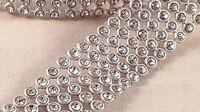 1.8cm- 1.2 meter Beautiful silver diamante rhinestone beaded iron-on bling lace