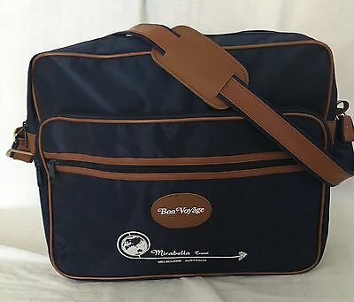 Retro Blue Bon Voyage Mirabella Travel Airline Vintage Carry on luggage  #39a